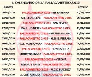Calendario Gennaio 2020.Il Calendario Della Stagione 2019 2020 Pallacanestro Forli