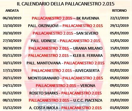 Calendario Novembre E Dicembre 2020.Il Calendario Della Stagione 2019 2020 Pallacanestro Forli
